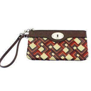 Fossil Key Per Purple & Red Coated Canvas Wristlet